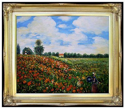 Framed Hand Painted Oil Painting Repro Monet Red Poppies Argenteuil 20x24in