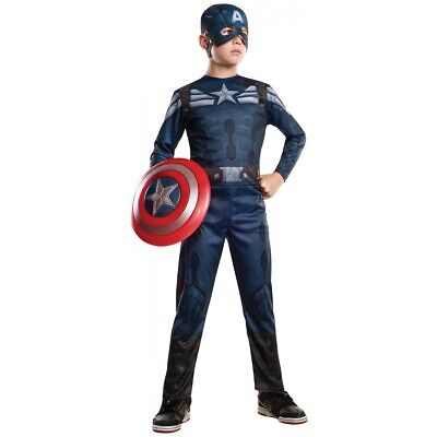 Captain America Costume Kids Superhero Halloween Fancy Dress Outfit
