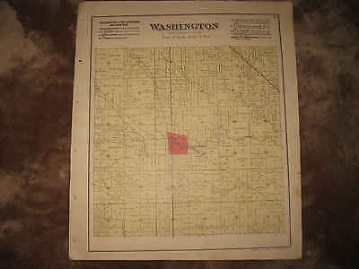 Antique 1890 Washington Township Ney Defiance County Ohio Handcolored Map Nr