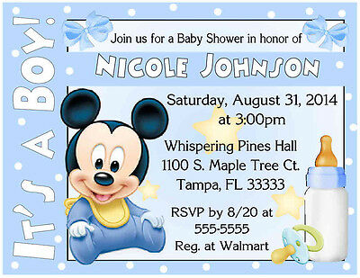 20 BABY MICKEY MOUSE BABY SHOWER INVITATIONS  - Printed with envelopes