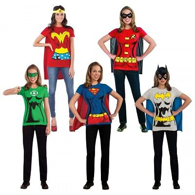 Female Superhero Costumes Adult T-Shirt Halloween Fancy Dress