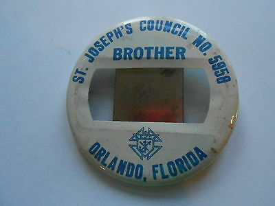 Vintage Knights of Columbus St Josephs Council 5958 Orlando FL Brother Pinback
