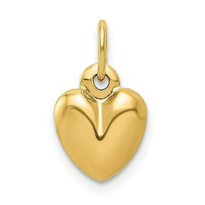 14k Yellow Gold 3-D Hollow Polished Hammered Large Puffed Heart Charm 35mmx29mm