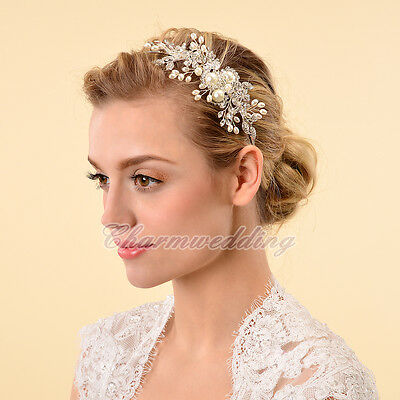 Vintage Crystal Flower Tiara Jewerly Hair Band Clip Headband Wedding Party NEW