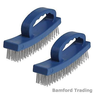2 x D-Handle Hand Wire Brush for Removing Rust/Metal Cleaning Heavy Duty Handle