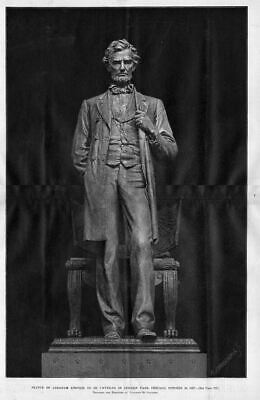Abraham Lincoln Statue To Be Unveiled In Lincoln Park Chicago Antique Engraving