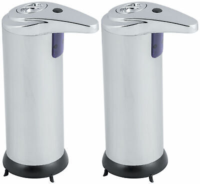 2 x Hausen Automatic Hands Free Chrome Bathroom Kitchen Liquid Soap Dispenser