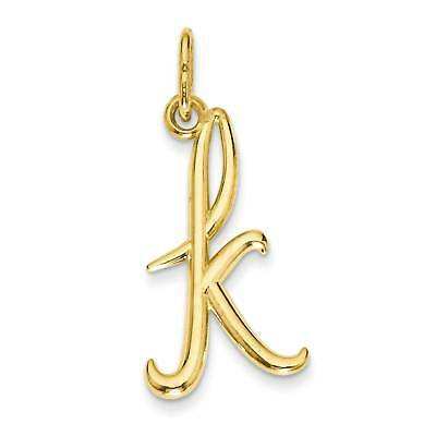 14k Yellow Gold Initial Polished Texture Charm 16.2mmx6.6mm