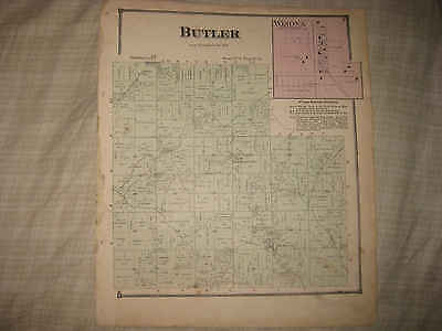 Antique 1870 Butler Township Winona New Middleton Columbiana County Ohio Map Nr