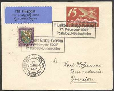 Switzerland Internal First Flight Cover 1927 w 2 Stamps L@@K