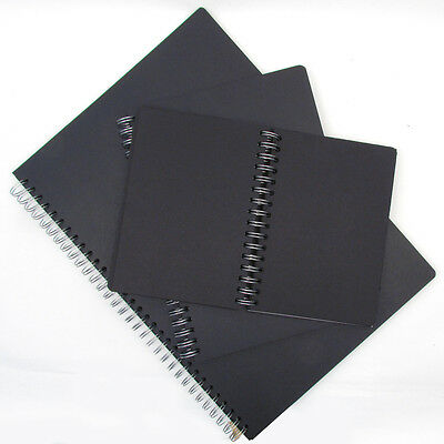 Artists 130gsm Black Paper Spiral Bound Sketch Books A5, A4 or A3. 50 Sheets.