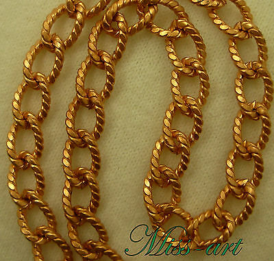HEAVY Textured Ovals SOLID BRASS Reddish Blond Chain Necklace Miss-art ALL Sizes
