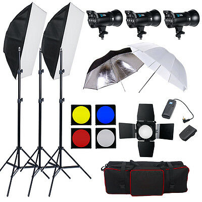 Flash Estudio Kit Iluminación 3 Estroboscopio 300W 900W Canon Nikon 3 LED