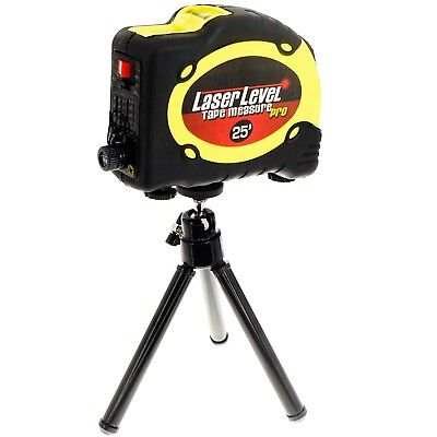 CROSS LINE LASER LEVEL Aligner w/Tripod+Magnet Legs+25' ft/7.5m Lock Tape