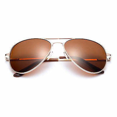 Classic Metal Aviator Style Polarized Lens Spring Hinge Sunglasses -Gold Brown