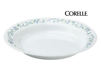 Corelle COUNTRY COTTAGE 15-oz Flat Rimmed SOUP BOWL 8 1/2 Green Blue Hearts *NEW