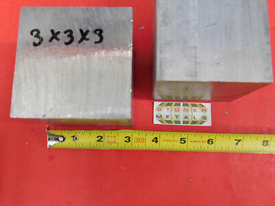 """2 pieces 3"""" X 3"""" ALUMINUM 6061 SQUARE SOLID BAR 3"""" long T6511 Flat Mill Stock"""
