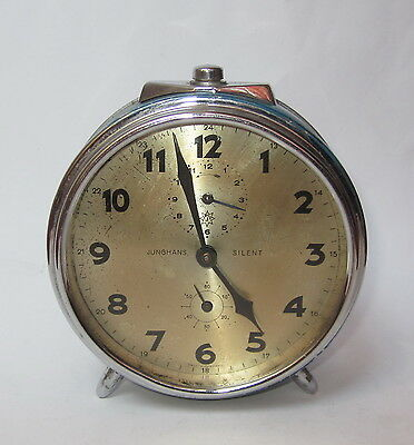 Antique Vintage Wwii German Junghans Silent Mantel Mantle Alarm Clock Watch Rare