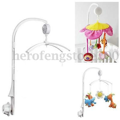 White 4Pcs Baby Crib Mobile Bed Bell Toy Holder Arm Bracket + Wind-up Music Box