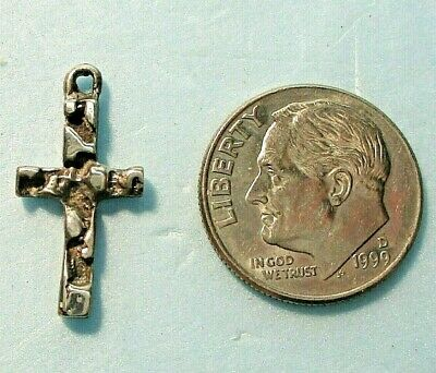 """Tiny sterling silver cross charm or pendant 3/4"""" ᴶ"""