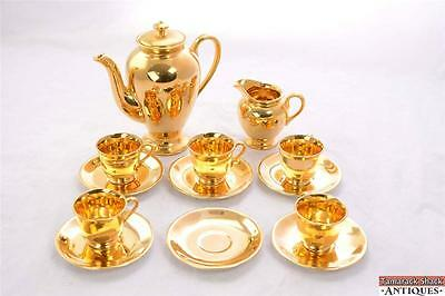 14pc Imperial China Set 22K Gold Hand Painted Teapot w/Lid Cups Saucers Creamer