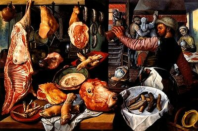 Butcher Shop 1568 Cuts Of Meat Still Life Painting By Joachim Beuckelaer Repro