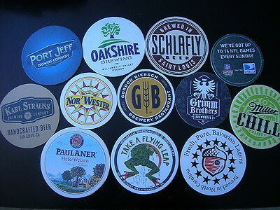 LOT of 12 ROUND Beer Coasters  BAR Mat barware liquor brewery brew NEW SCHLAFLY