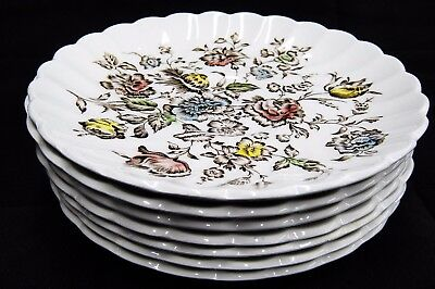 Johnson Bros Staffordshire Bouquet Lot of 7 Saucers Excellent Condition