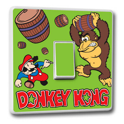 Donkey Kong Theme Light Switch Cover Vinyl Sticker - Gaming Skin Room Decal