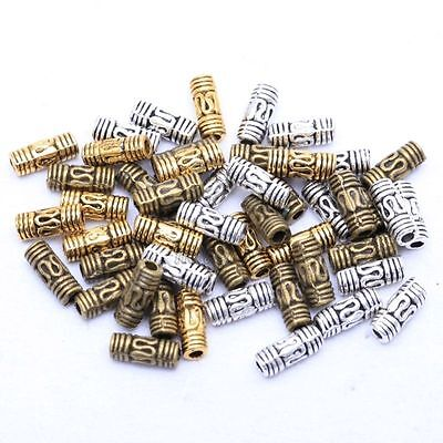 Lots 50Pcs Antique Silver/Gold/Bronze Column Tube Spacer Beads for Jewelry 8x3mm