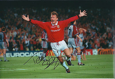 Teddy SHERINGHAM Signed Autograph 12x8 Photo AFTAL COA Man United Classic Goal
