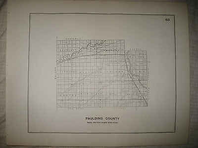 Antique 1910 Paulding County Ohio Highway Road Map Rare Nr
