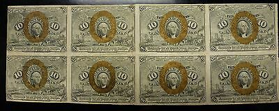{BJSTAMPS} 1863 10c. Fractional Currency 2nd Issue sheet 8 Uncut Civil War VF