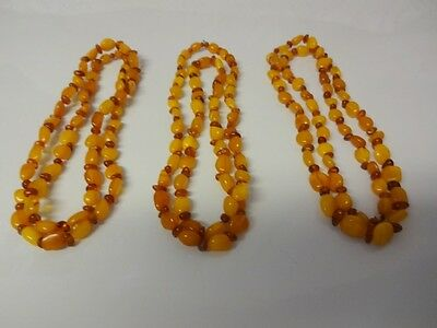 3 Antique Stunning Estate Spiritual Amber Beads Long Necklaces  45 grams