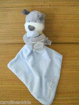 New Carters Gray Puppy Dog Blue Sweet Dreams Rattle Lovey Security Blanket NWT