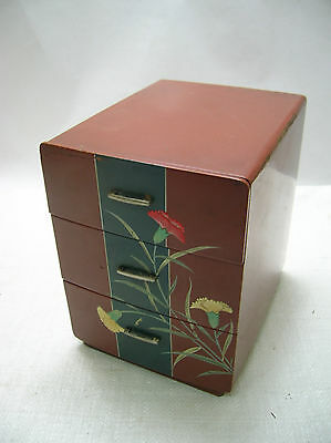 Antique Wooden Sewing Box Japanese Drawers Circa 1930s #198