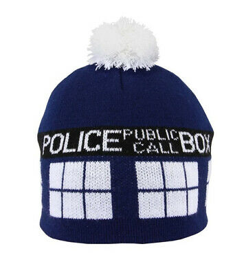 Doctor Who Tardis Image Knitted Pom Beanie Hat LICENSED NEW UNWORN