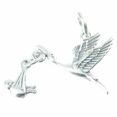 Stork with engravable heart sterling silver charm .925 x1 Storks Babies CF2451-H