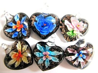 NP009 : Lovely 6 pcs 3D Flower Murano Glass Bead Pendant Fit Necklace