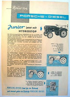 PORSCHE DIESEL JUNIOR - Tractor Sales Sheet - c1958 - German Text
