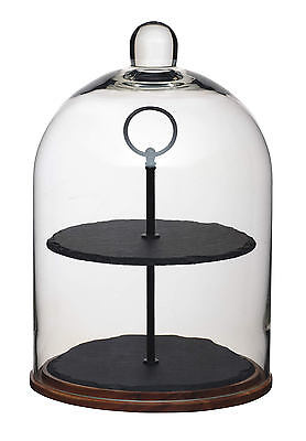 Artesa 2 Tier Wood, Slate & Glass Dome Cake Centrepiece Serving & Display Stand