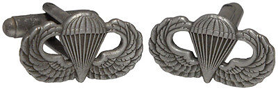 US Paratrooper JUMP WINGS CUFFLINKS - American Airborne WW2 Style Para Badge Pin
