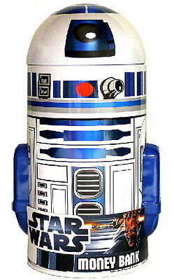 Classic Star Wars Movies R2-D2 Character Head Shaped Tin Coin Bank, NEW