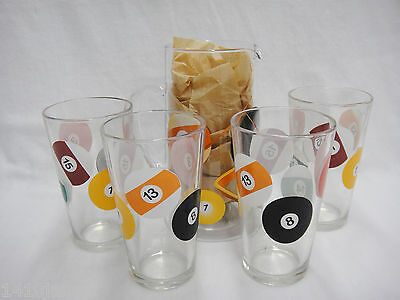 Pool Ball Billiards Beverage Set Pitcher and 4 Glasses  Barware Awesome