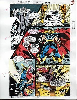 Original 1990's Moon Knight vs Thor Marvel Comics color guide art page: Avengers