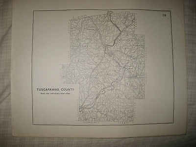 Rare Antique 1910 Tuscarawas County New Philadelphia Ohio Highway Road Map Nr