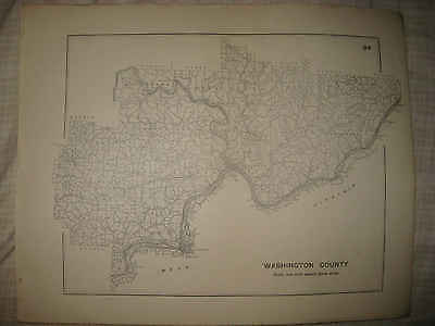 RARE ANTIQUE 1910 WASHINGTON COUNTY MARIETTA PARKESBURG OHIO HIGHWAY ROAD MAP NR