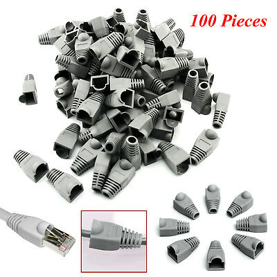 100 x RJ45 Cat5e Cat6 Ethernet Network LAN Cable Plug Ends Crimp Connector Boots