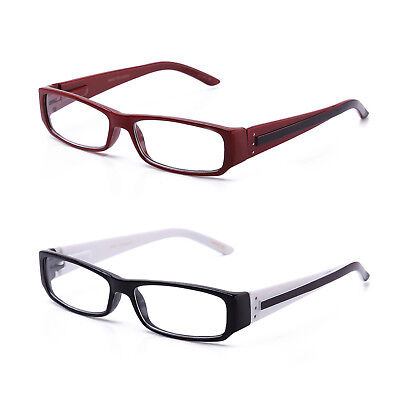 2 Tone Color Rectangular Reading Glasses Spring Loaded Hinge Many Strength New