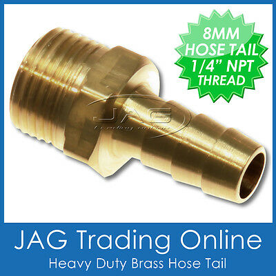 """BRASS 8mm (5/16"""") HOSE TAIL FITTING BARB 1/4"""" NPT THREAD Outboard/Fuel Tank Line"""